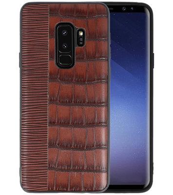 Croco Donker Bruin hard case hoesje voor Samsung Galaxy S9 Plus