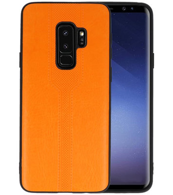 Oranje lederlook hard case hoesje voor Samsung Galaxy S9 Plus