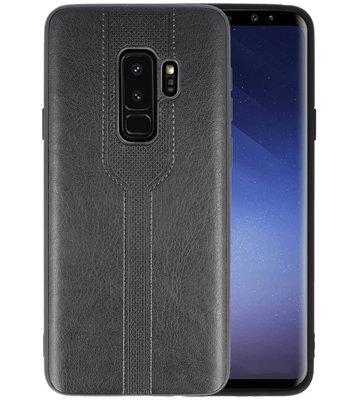 Zwart lederlook hard case hoesje voor Samsung Galaxy S9 Plus