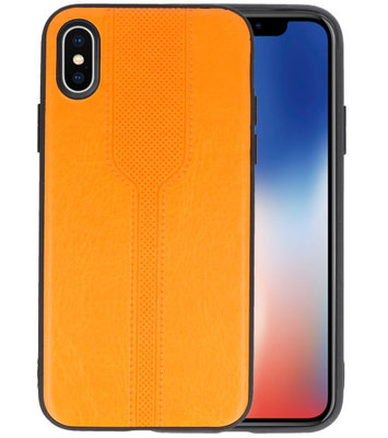 Oranje lederlook hard case hoesje voor Apple iPhone X