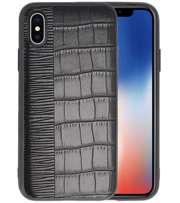 Croco Zwart hard case hoesje voor Apple iPhone X