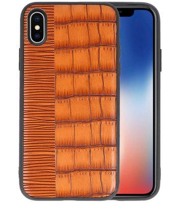 Croco Bruin hard case hoesje voor Apple iPhone X