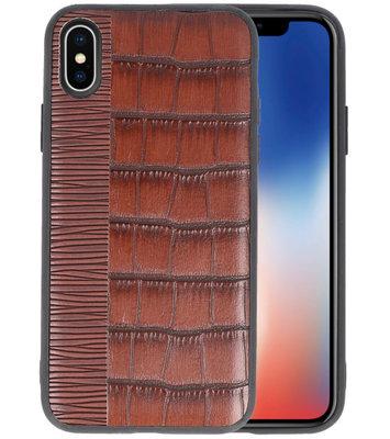 Croco Donker Bruin hard case hoesje voor Apple iPhone X