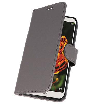 Grijs Wallet Case Hoesje voor Huawei Y6 2018