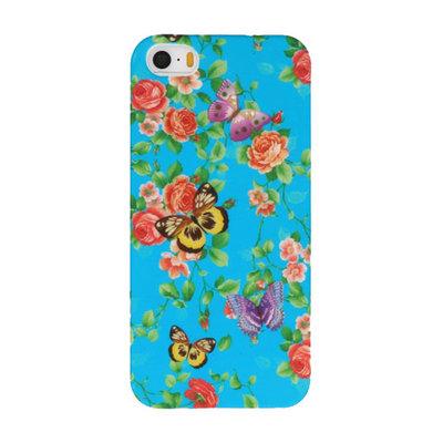 Blauw Bloem Vlinder Hard case cover hoesje voor Apple iPhone 5/5s/SE