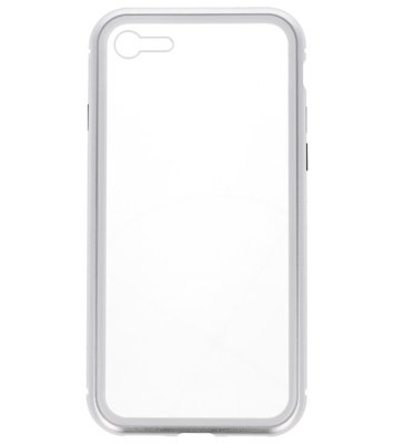 Zilver Transparant Magnetisch Back Cover Hoesje voor Apple iPhone 7 / 8