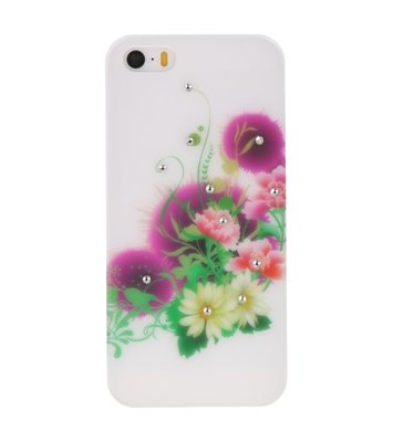 Wit Roze Bloem Hard case cover hoesje voor Apple iPhone 5/5s/SE