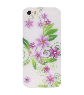 Wit Paars Bloem Hard case cover hoesje voor Apple iPhone 5/5s/SE