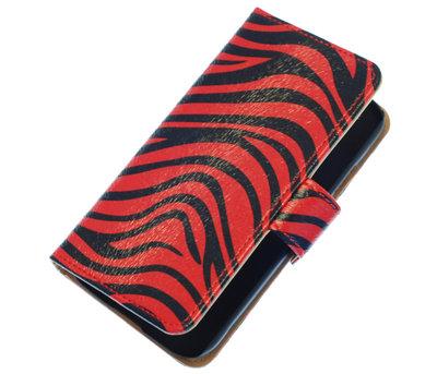 Rood Zebra Wallet Bookstyle Hoesje voor Apple iPhone 4 / 4s
