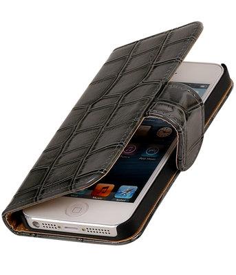 Grijs Glans Croco Bookstyle Hoesje voor Apple iPhone 4 / 4s