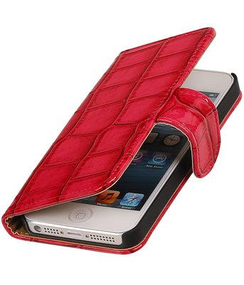 Roze Glans Croco Bookstyle Hoesje voor Apple iPhone 4 / 4s