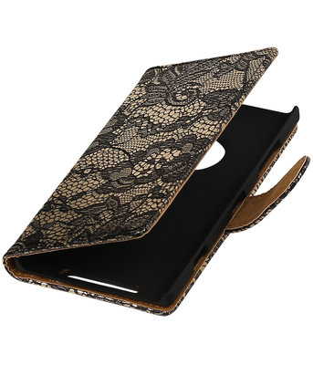 Zwart Lace Boosktyle Wallet Hoesje voor Nokia Lumia 830