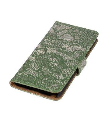 Donker Groen Lace Boosktyle Wallet Hoesje voor Nokia Lumia 830