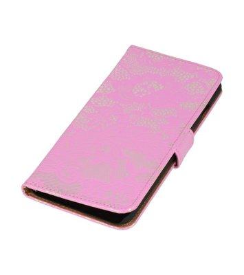Roze Lace Boosktyle Wallet Hoesje voor Nokia Lumia 830
