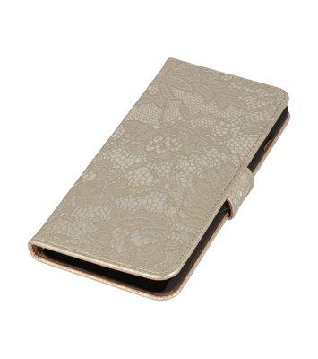 Goud Lace Boosktyle Wallet Hoesje voor Nokia Lumia 830