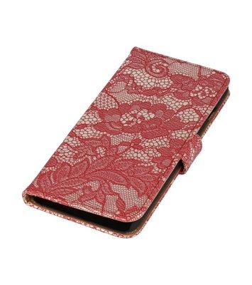 Rood Lace Boosktyle Wallet Hoesje voor Nokia Lumia 830