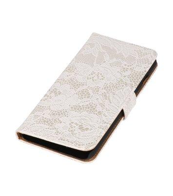 Wit Lace Boosktyle Wallet Hoesje voor Nokia Lumia 830