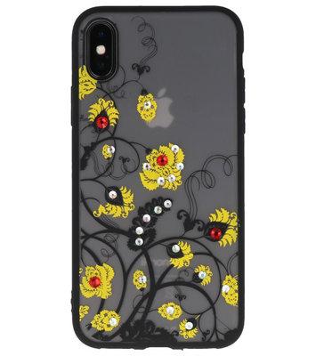 Geel Diamant Bloemen Hoesje Cases voor iPhone X