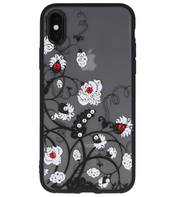 Wit Diamant Bloemen Back Cover Hoesje voor iPhone X
