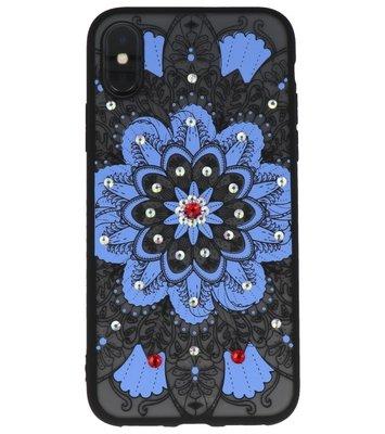 Blauw Diamant MandalaBack Cover Hoesje voor iPhone X