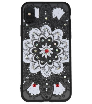 Wit Diamant Mandala Back Cover Hoesje voor iPhone X