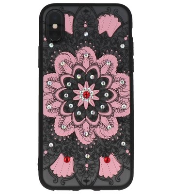 Licht Roze Diamant Mandala Back Cover Hoesje voor iPhone X