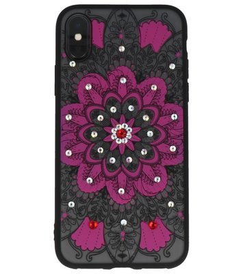 Roze Diamant Mandala Back Cover Hoesje voor iPhone X