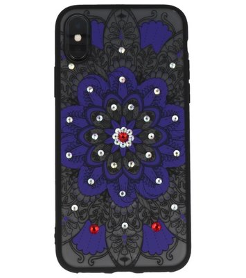 Paars Diamant Mandala Back Cover Hoesje voor iPhone X