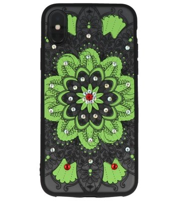 Groen Diamant Mandala Back Cover Hoesje voor iPhone X