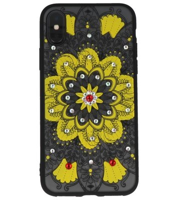 Geel Diamant Mandala Back Cover Hoesje voor iPhone X