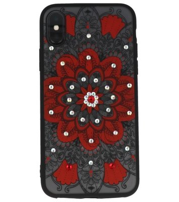 Rood Diamant Mandala Back Cover Hoesje voor iPhone X