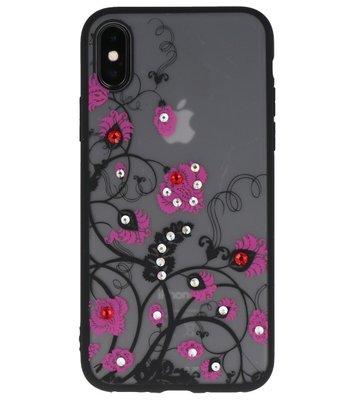 Roze Diamant BloemenBack Cover Hoesje voor iPhone X
