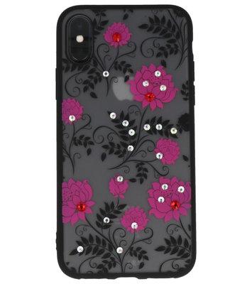 Roze Diamant Lotus Back Cover Hoesje voor iPhone X