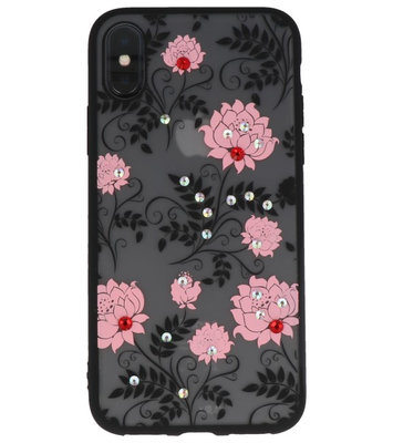 Licht Roze Diamant Lotus Back Cover Hoesje voor iPhone X