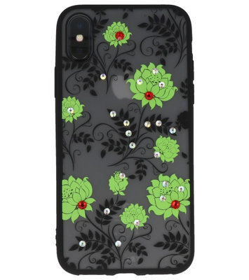 Groen Diamant Lotus Back Cover Hoesje voor iPhone X