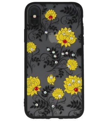Geel Diamant Lotus Back Cover Hoesje voor iPhone X