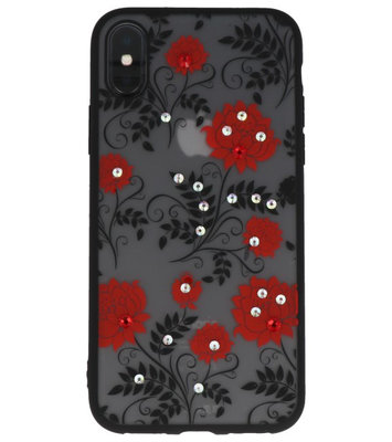 Rood Diamant Lotus Back Cover Hoesje voor iPhone X