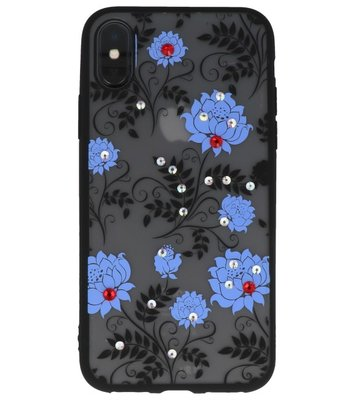 Blauw Diamant Lotus Back Cover Hoesje voor iPhone X