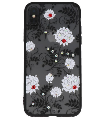 Wit Diamant Lotus Back Cover Hoesje voor iPhone X
