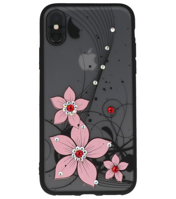 Licht Roze Diamant Narcis Back Cover Hoesje voor iPhone X