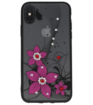 Roze Diamant Narcis Back Cover Hoesje voor iPhone X