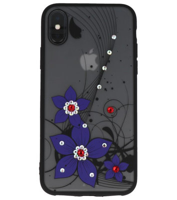 Paars Diamant Narcis Back Cover Hoesje voor iPhone X