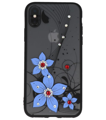Blauw Diamant Narcis Back Cover Hoesje voor iPhone X