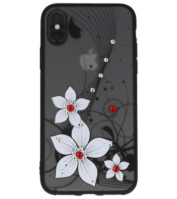 Wit Diamant Narcis Back Cover Hoesje voor iPhone X