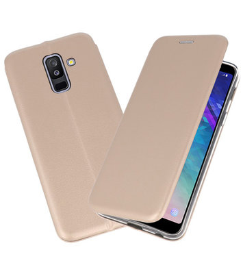 Goud Premium Folio Booktype Hoesje voor Samsung Galaxy A6 Plus 2018