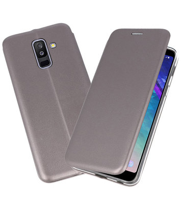 Grijs Premium Folio Booktype Hoesje voor Samsung Galaxy A6 Plus 2018
