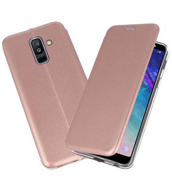 Roze Premium Folio Booktype Hoesje voor Samsung Galaxy A6 Plus 2018