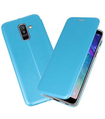 Blauw Premium Folio Booktype Hoesje voor Samsung Galaxy A6 Plus 2018