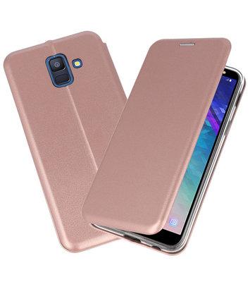 Roze Premium Folio Booktype Hoesje voor Samsung Galaxy A6 2018