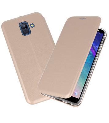 Goud Premium Folio Booktype Hoesje voor Samsung Galaxy A6 2018